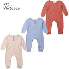 Одежда для малышей на весну и осень одежда для новорожденных мальчиков и девочек комбинезон с длинными рукавами и большим карманом однотонный комплект в рубчик