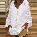 Frauen Elegante Spitze Einsatz Quaste Bluse Shirts 2021 Herbst Vintage Lange Laterne Hülse Pullover Tops Damen Casual V-ausschnitt Blusa
