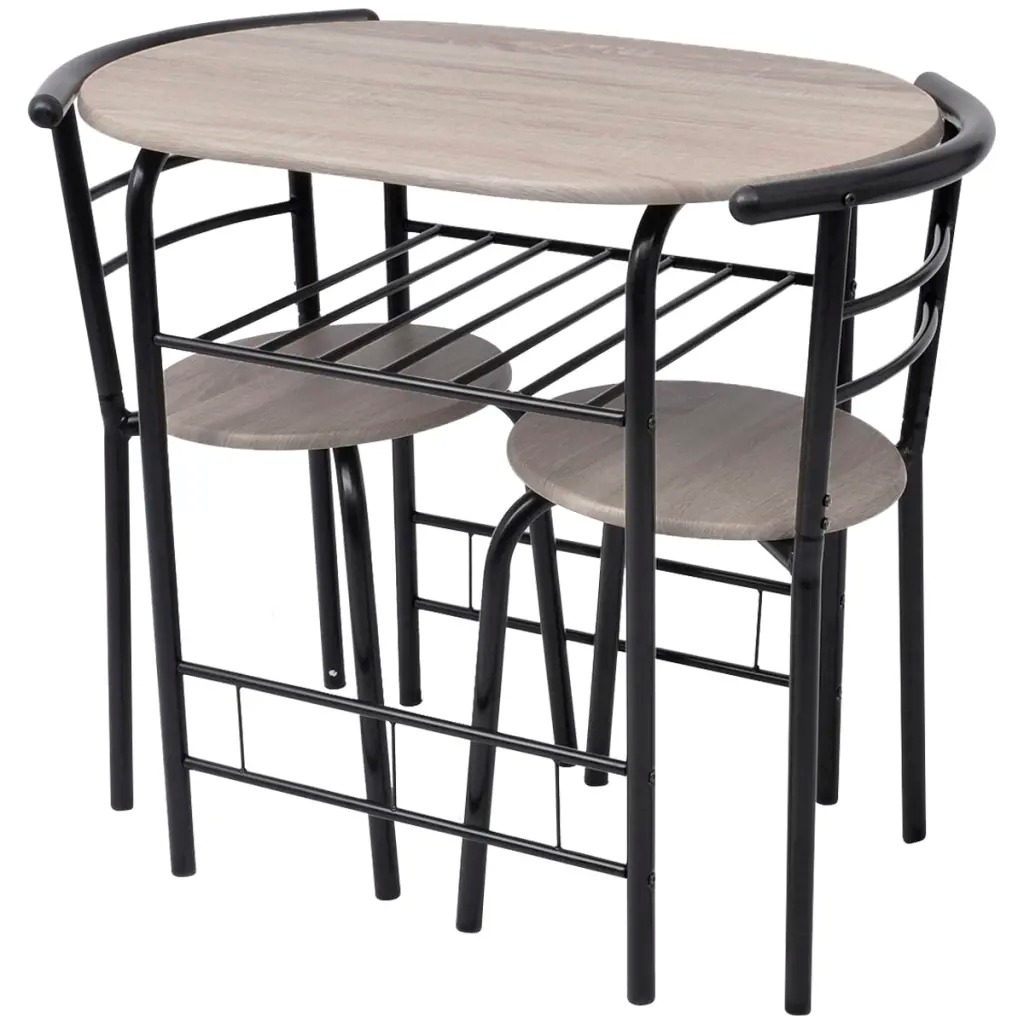 VidaXL 3 pièces ensemble de Table tabouret de Bar cuisine intérieure salle à manger café meubles chaise de Table de Bar pour la maison Restaurant Table de petit déjeuner en bois