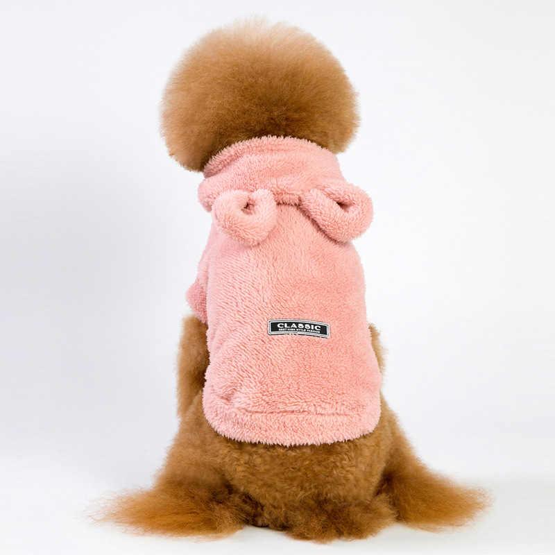 Pile Cane di Animale Domestico Vestiti Caldi di Inverno Del Cane del Rivestimento del Cappotto per Cani Con Cappuccio Morbido Bulldog Francese Vestiti per I Cani Chihuahua Ropa perro