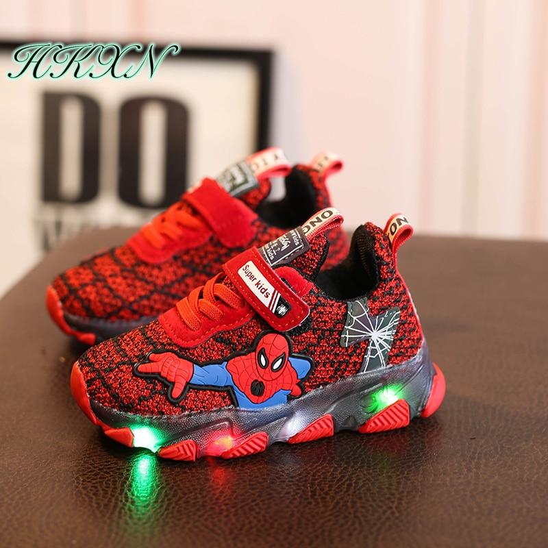 spiderman kids shoes children boys girls led luminous sport sneakers
