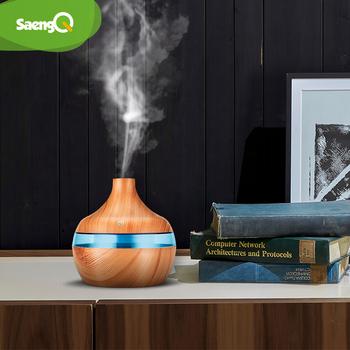 SaengQ elektryczny Aroma dyfuzor powietrza niezbędny nawilżacz powietrza ultradźwiękowy USB nawilżacz ziarna drewna Mini nawilżacz Maker LED Light tanie i dobre opinie 300ml ROHS 36db CN (pochodzenie) Ulatniające się opary Do utrzymania czystości Klasyczny kolumnowy 10㎡ Pilot zdalnego Sterowania