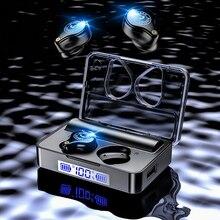 Tws bluetooth イヤホン 5.0 スポーツワイヤレスヘッドフォンヘッドセット blutooth のイヤホン led ディスプレイと 3600 mah 充電ボックス