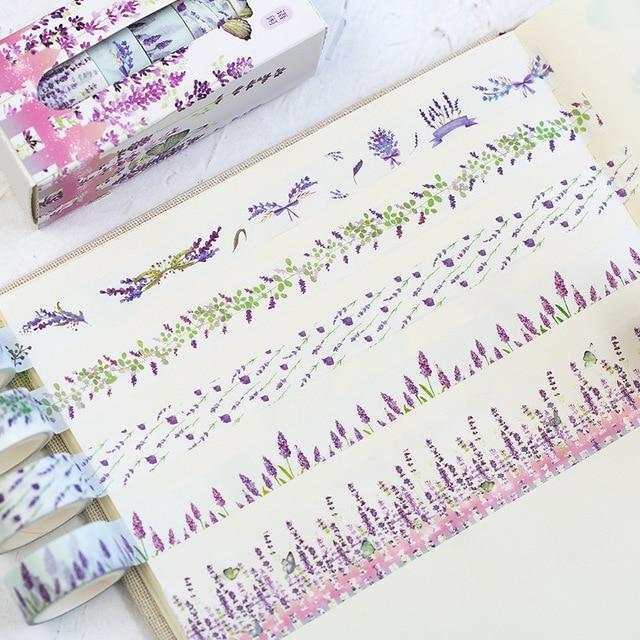 5 Pcs/Box Beautiful Flower Washi Tape DIY Decoration Scrapbooking Planner Masking Tape Adhesive Tape Label Sticker Stationery 2
