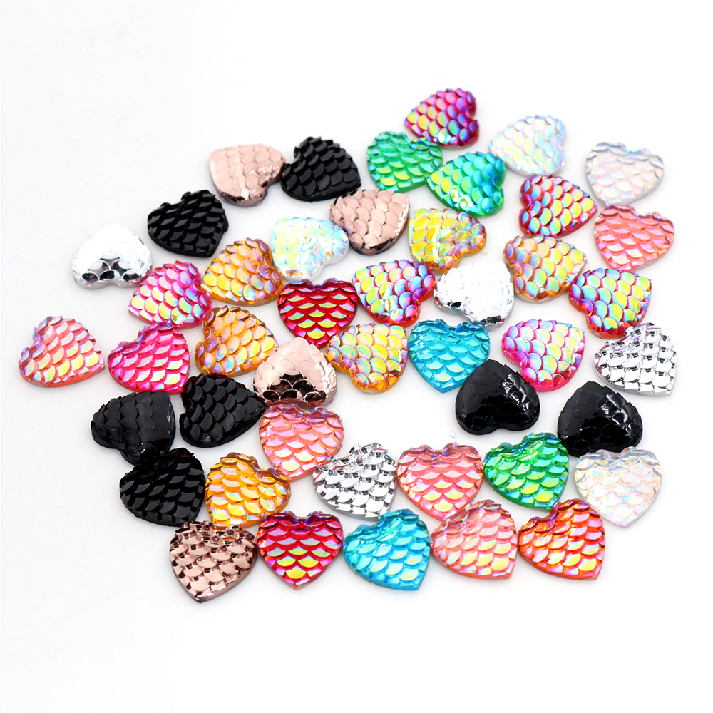 New Fashion 40pcs 12mm Heart Style Mix AB Colors Fish Scale Flat Back Resin Cabochons For Bracelet Earrings Accessories-V3-01