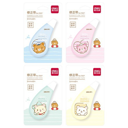 Deli 7207 Cartoon Correction Tape Corretion Pen/fluid 5 M * 6 M Students Correction Tape High Quality Tapecore Not Easy To Break