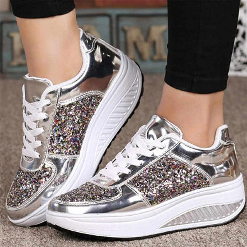 Parlak payetler kadın ayakkabı platformu takozlar ayakkabı moda Shake Sneakers Glitter spor ayakkabılar kadın Zapatos De Mujer V25