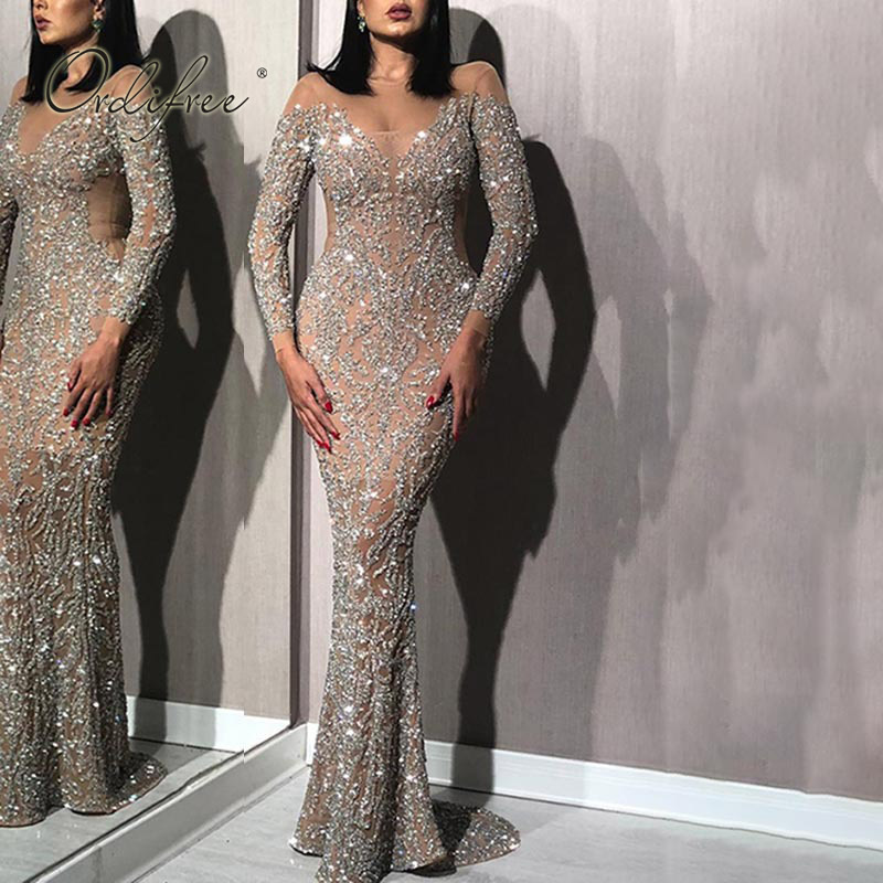 Ordifree 2020 Summer Women Long Party Dress Long Sleeve Floor Length Sexy Bodycon Silver Sequin Maxi Dress