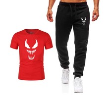 Summer Hot Sale Mens Sets Cartoon T Shirts+pants Two Pieces  street Tracksuit Male Casual T-shirt Gyms Fitness Sweatpants