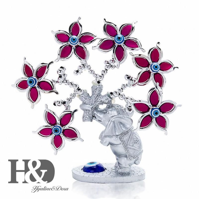 H & D статуэтка в виде цветка слона, Турецкая Дурной глаз, дерево для защиты богатства, удачи, рождественский подарок, украшение для дома, укра...