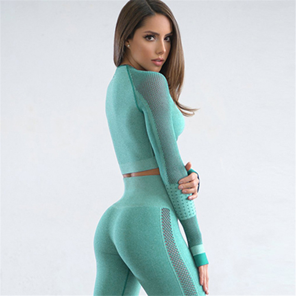 2019 New Solid Yoga Set Gym Workout Clothes Women Hollowing Out Full Sleeves Sport Leggings+Cropped Shirt Running Sportswear Set
