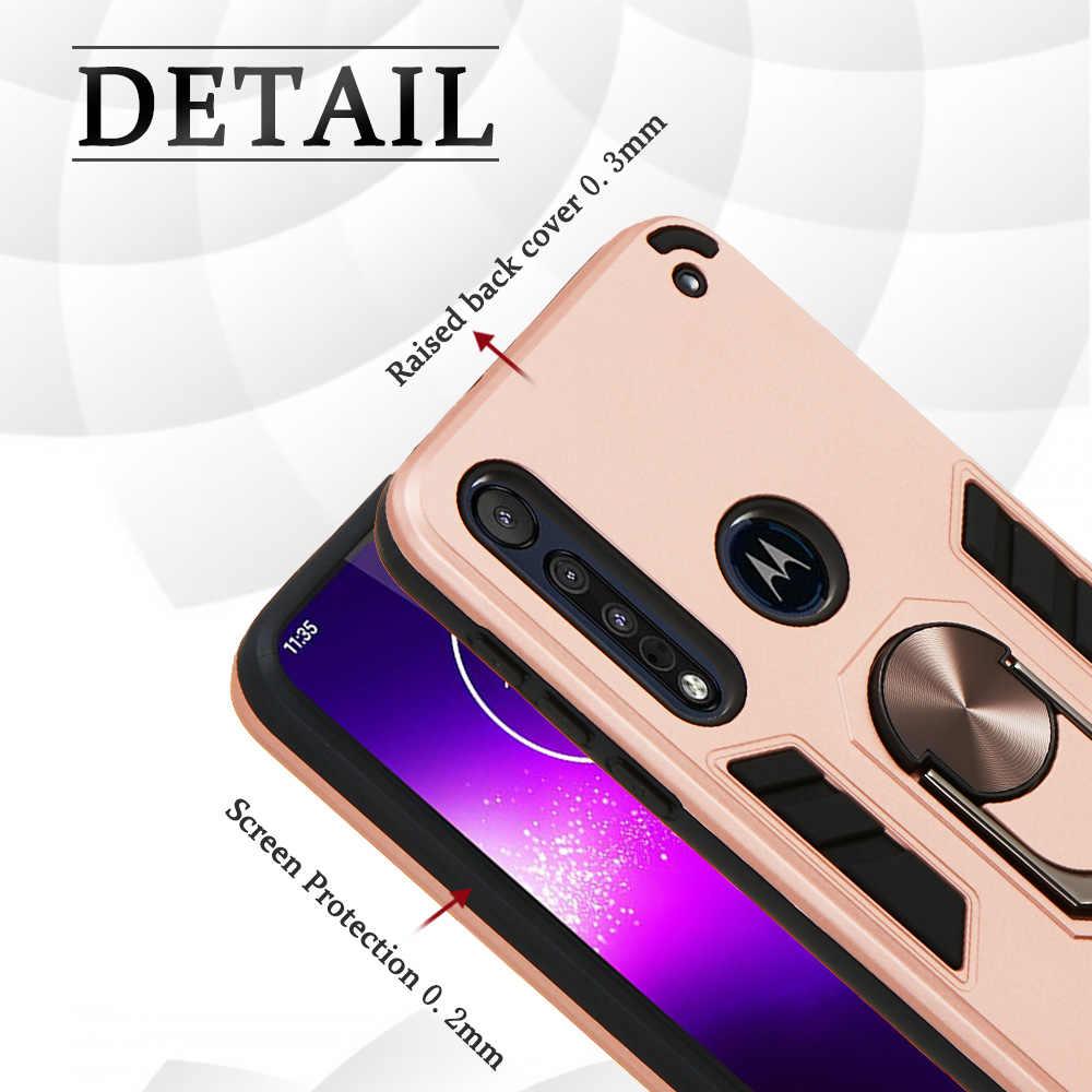 Anneau magnétique dur armure pochette housses pour estuche Moto G8 Plus Squishy dur PC couverture sFor Moto etui une Macro G8 jouer Movil Ajax