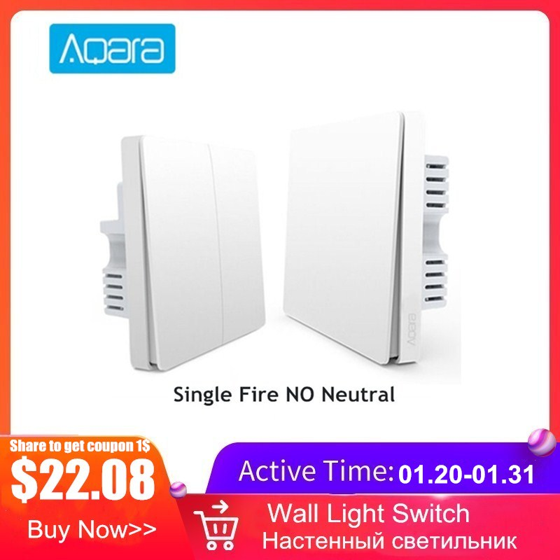 Aqara Smart Wall Light Switch Single Fire Line Light Remote Control Wireless Key Wall Switch Without Neutral Mi Home