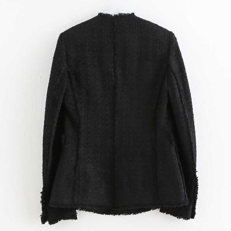 Vintage Vrouwen Tweed Blazers Vrouwen Mode Toevallige Double Breasted Jas Elegante Dames Lange Seeve Suits Vrouwelijke Bovenkleding