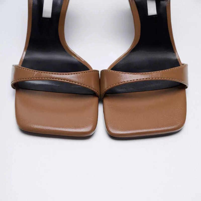 Женские сандалии с открытым носком, туфли в римском стиле на высоком каблуке-шпильке, сандалии с квадратным носком и пряжкой, Новинка лета 2021