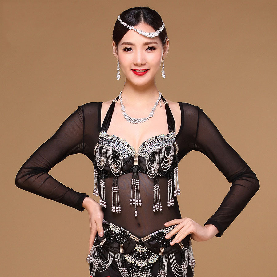 Одежда для танца живота с длинным рукавом, аксессуары для танца живота, Женское боди, нижняя рубашка, топы для танца живота, трико, Одежда для танцев