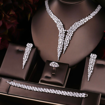 AccKing Luxury Sparking Brilliant Cubic Zircon Drop Earring Necklace Heavy Dinner Jewelry Sst Wedding Bridal jewelry sets