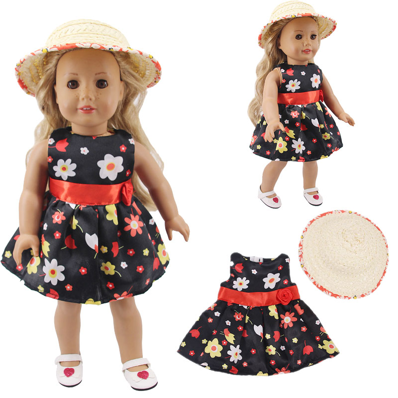 LUCKDOLL Small Fresh Foreign Dress Fit 18 Inch American 43cm Baby Doll Clothes Accessories,Girls Toys,Generation,Gift