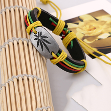 New Vintage Retail Fashion Wrap Hemp Rope Belt Maple Leaves Charm Genuine Leather Women Men Bracelet Handmade Wholesale Jew