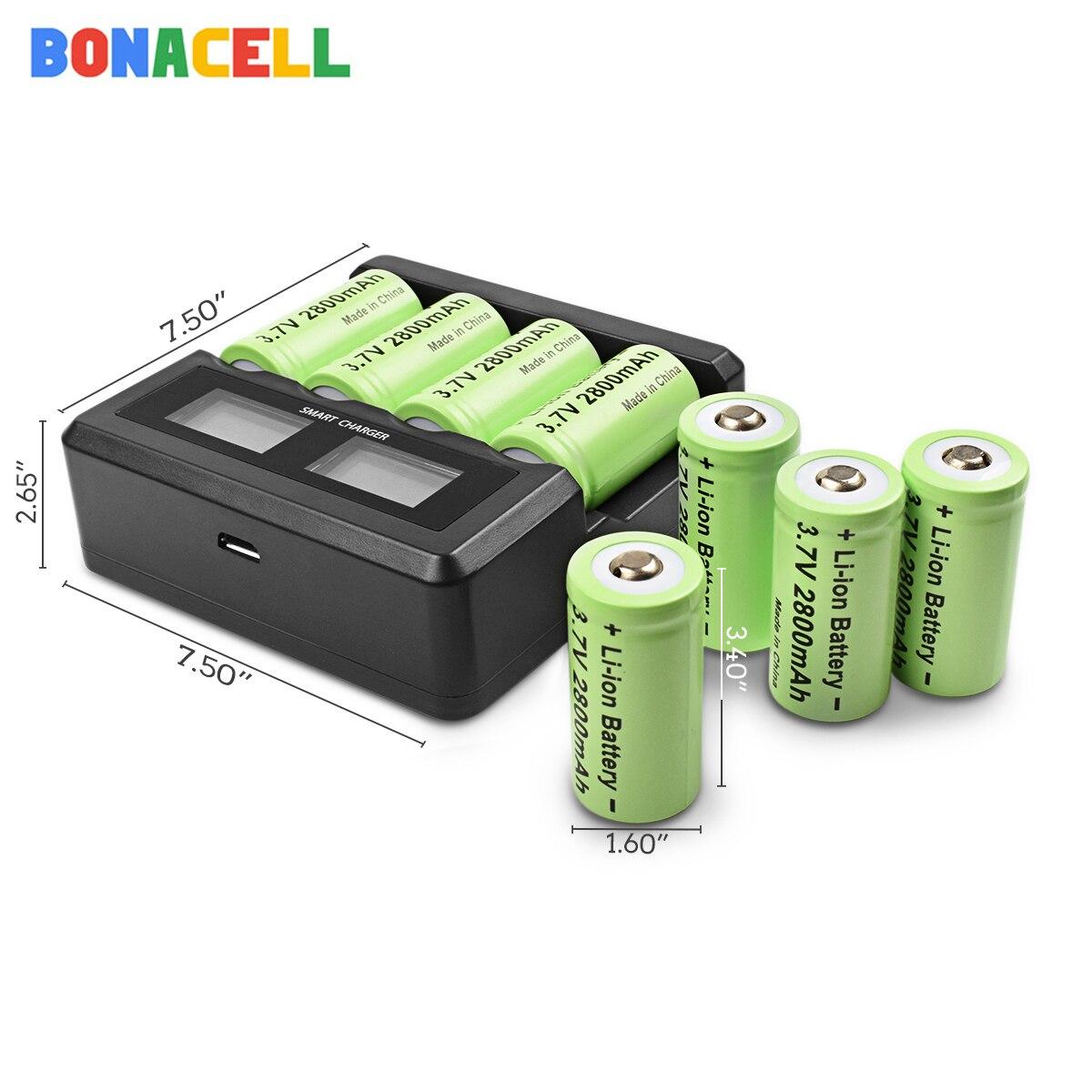 Bonacell 3,7 V 16340 2800mAh литий-ионный аккумулятор Батарея CR123A Перезаряжаемые батареи CR123 для лазерная ручка светодиодный фонарик для мобильного, бе...