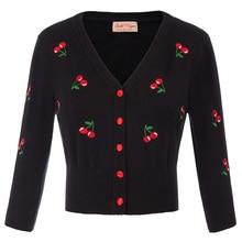 2019 Autumn Winter Women Cropped Length Coat Fashion 3/4 Sleeve Cherries Embroidery Coat Female