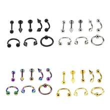 8 pcs/lot Fake Septuml Segment Titanium Nose Piercings Helix Labret Piercings Septum Ear Tragus Rings Piercings Body Jewelry(China)