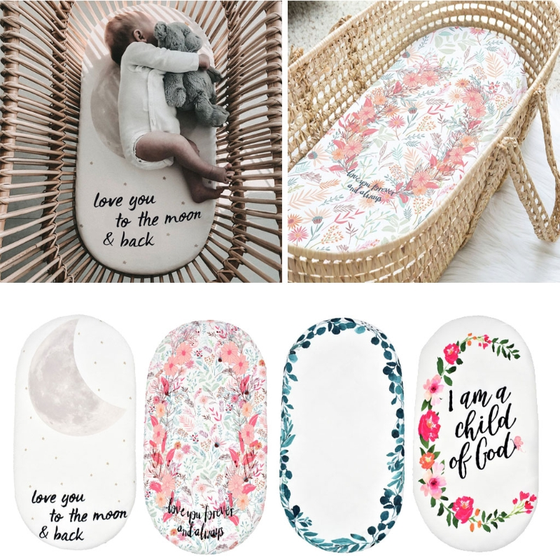Baby Moses Basket Sheet Printing Mini Cradle Bedding Protector Crib Care Changing Pad Mattress Removable Cover
