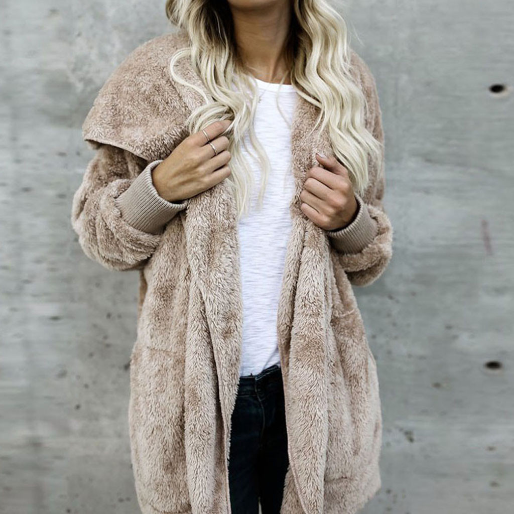 Large Size S-5XL Faux Fur Teddy Bear Coat Jacket Women Fashion Open Stitch Winter Hooded Coat Female Long Sleeve Fuzzy Jacket