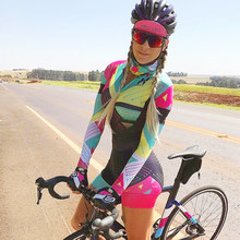 Agah Pro Team Triathlon Suit Women's Macaquinho Cycling Long Sleeve Skinsuit Jumpsuit Maillot MTB Cycling Ropa Ciclismo Set Gel