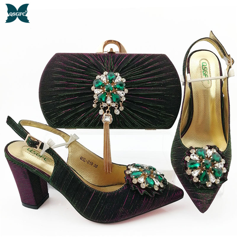 <font><b>2019</b></font> Winter New Shoes and Bag Set Women Italian design <font><b>D</b></font>.Green Color Shoes with Matching Bags Set Decorated with Stone for party image