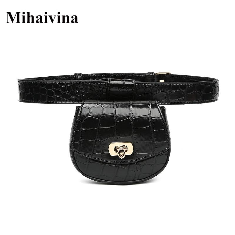 Mihaivina Mini Waist Bag Women Alligator Leather Fanny Pack Phone Pouch Chest Packs Ladies Wide Strap Belt Bag Female Waist Pack