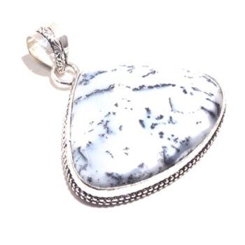 Подлинная Dendrite Опал Подвеска Серебряное покрытие над медью, ручная работа женские ювелирные изделия подарок, P8449