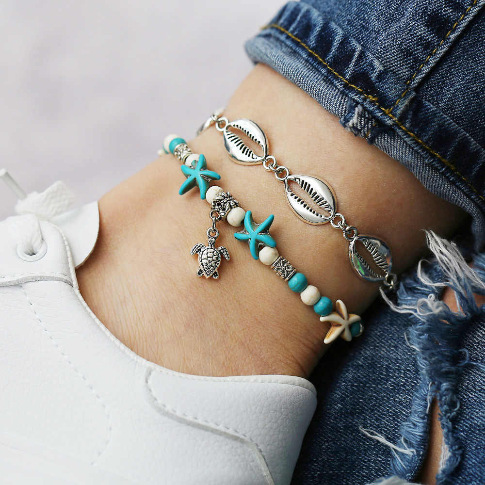 Nowa moda czeski plaża biżuteria niestandardowe łańcuszek na kostkę łańcuch Boho Turtle koraliki łańcuszek na kostkę powłoki biżuteria na nogi stóp powłoki bransoletka kobiety