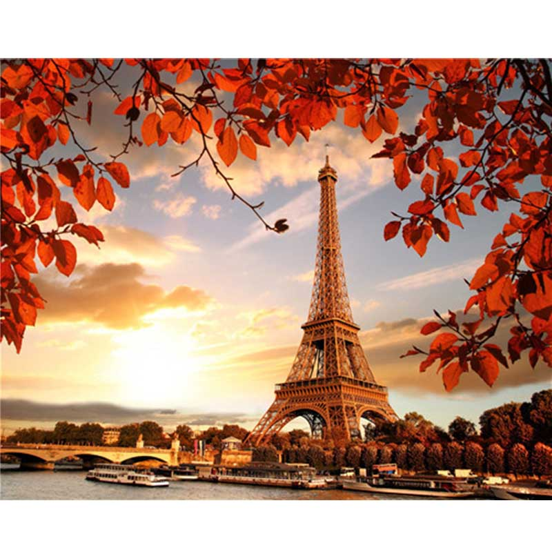 Painting By Numbers Landscape Paris Tower Pictures Digital Acrylic Oil Painting On Canvas Handmade Decoration Home Paintings