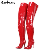 Sorbern 90Cm Extreme Long Boots Thick Lining Crotch Thigh High Boot Unisex Stilettos 12Cm 18Cm Custom Wide Slim Legs Fit Boot