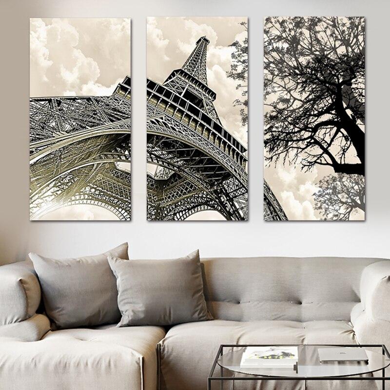 3 panel Wall Art Landschap Schilderen Parijs Eiffeltoren Foto Posters En Prints Op Canvas Poster Muur Foto 39 S Voor Woonka in Painting amp Calligraphy from Home amp Garden