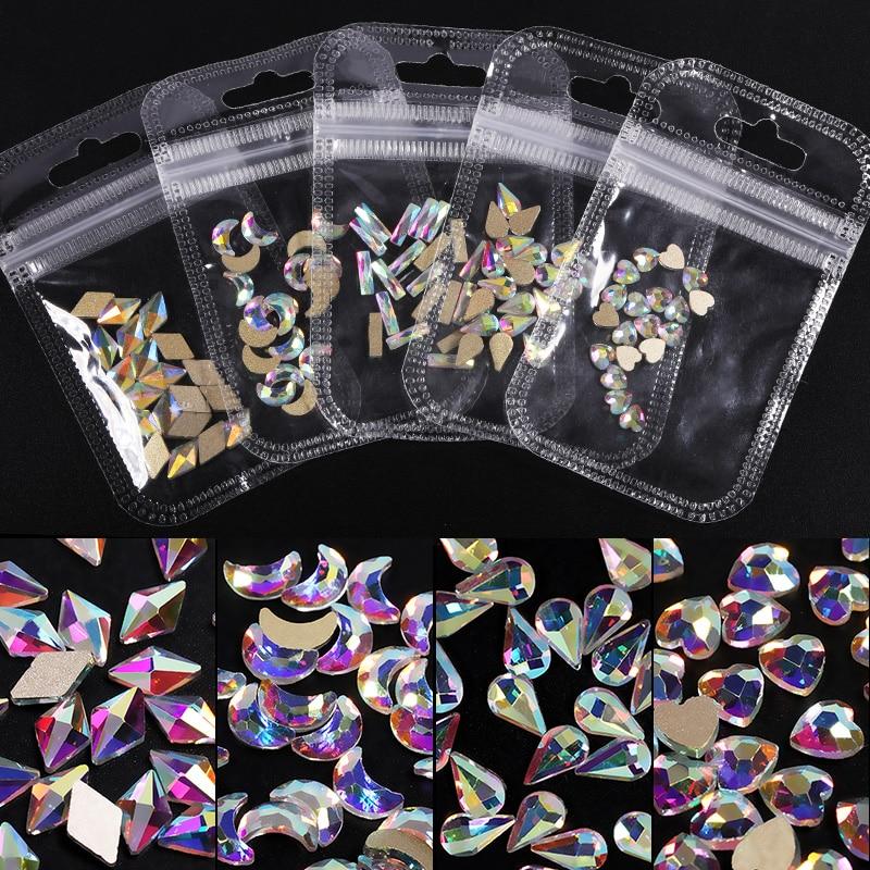 Кристаллы прозрачные AB стеклянные стразы камни твердые плоские задние украшения для ногтей красочные гранулированные трехмерные украшени...