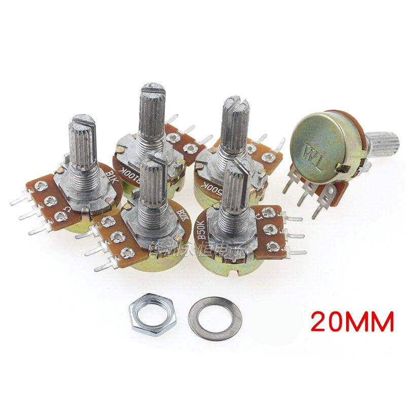 5 pces único potenciômetro wh148 b 1k 2k 5k 10k 20k 50k 100k 250k 500k 1m l20mm