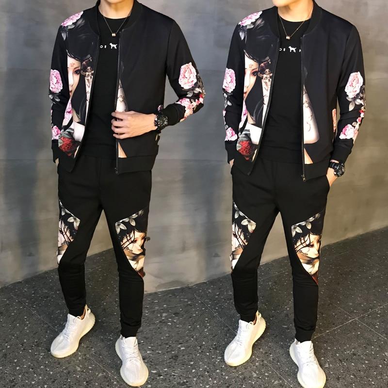 Man Tracksuit Male Tracksuit Asian Size Moda Hombre 2019 New Autumn Man Sport 2 Piece Sets Sport Suit Jacket + Pants Men Set