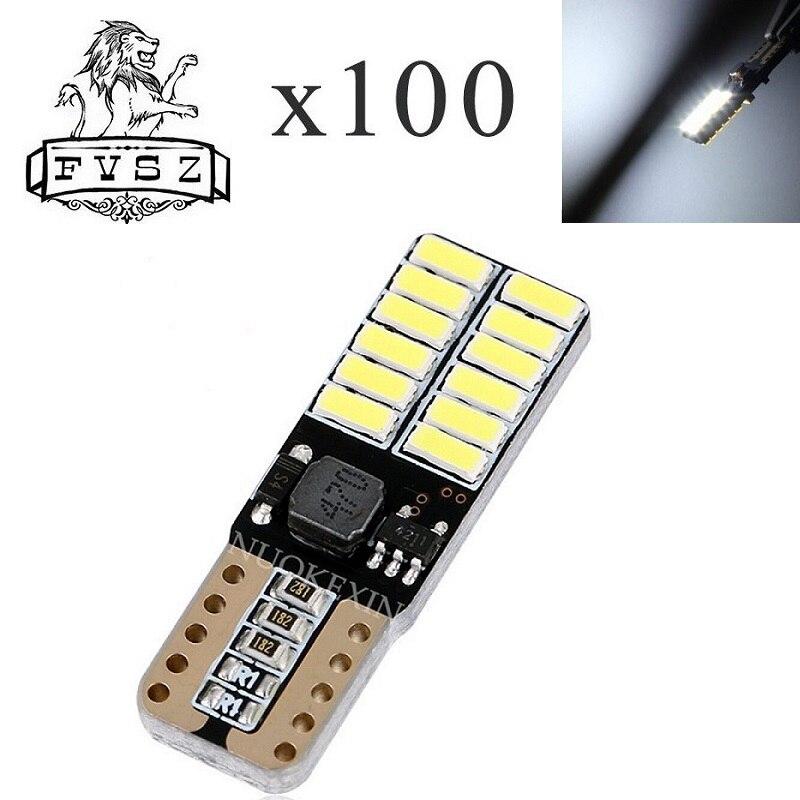 100 x T10 LED W5W 12-24V 4014 lampe de voiture de Canbus 24 SMD 6500K grand vendeur Diodes électroluminescentes ampoule indépendante produto