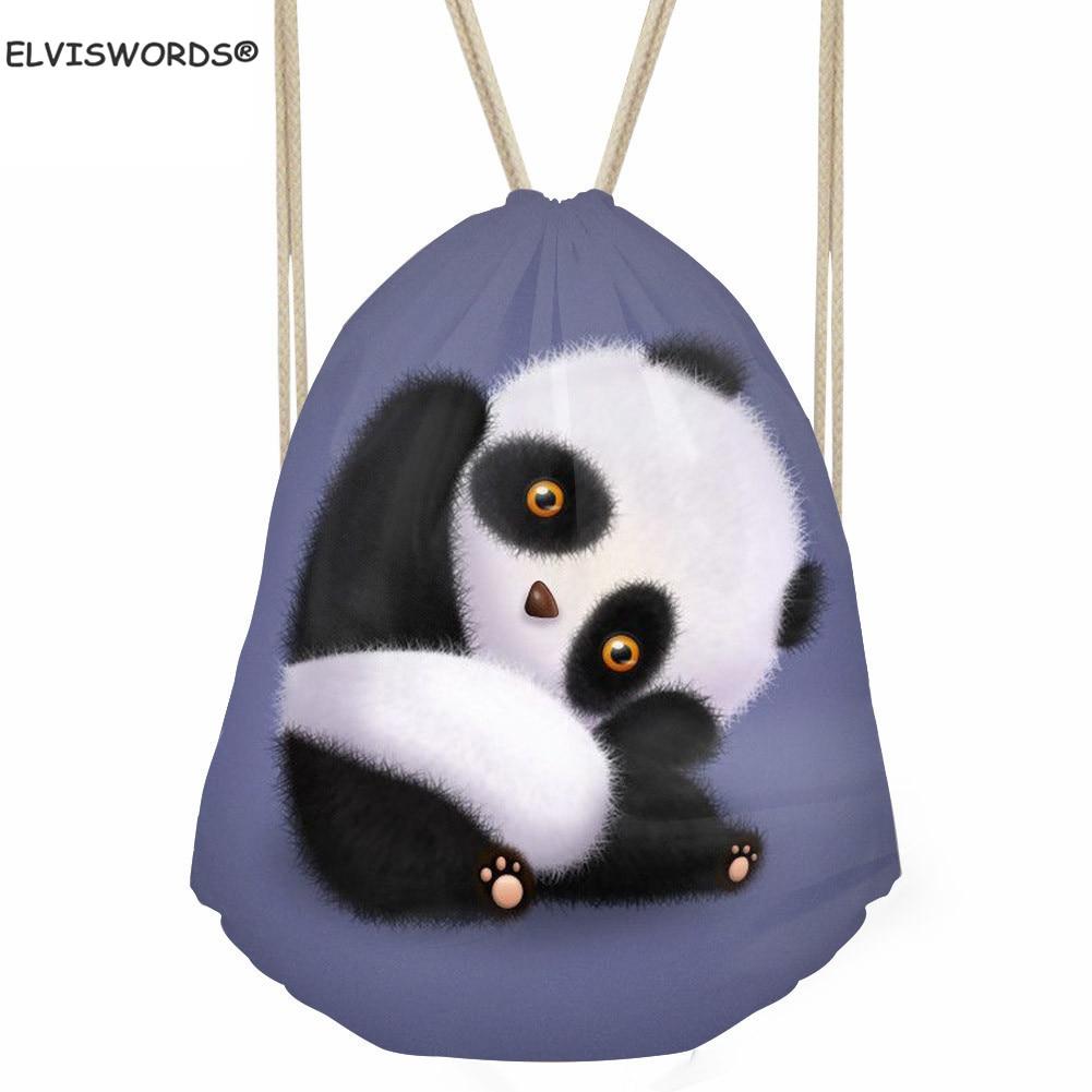 ELVISWORDS Cartoon Cute Panda Print Kid's School Bag Animal Small Sack Pack For Teenage Yoga Bag For Women Men's Gym Backpacks