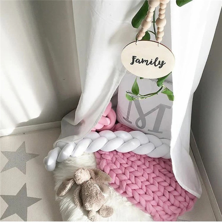 1.5/2M Baby Crib  Bumpesr Pigtail Kids Cot Bed Kids Pillow Braid Cushion Bumper for Infant Living room decoratioA024