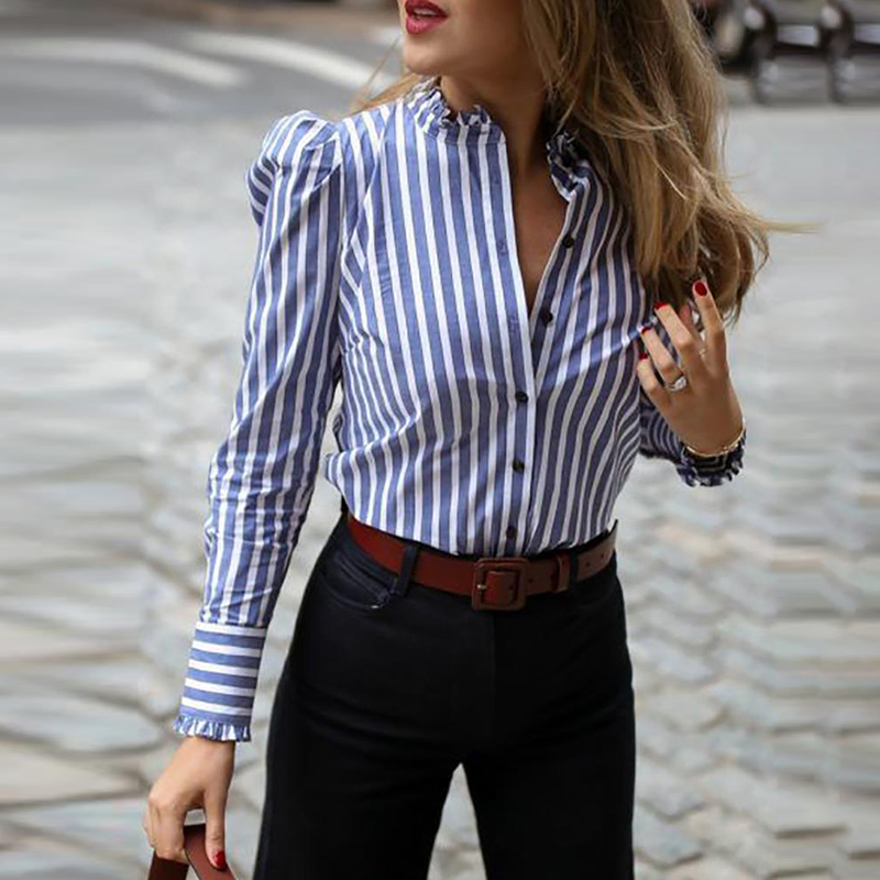 Women Long Sleeve Striped Puffed Sleeve Frill Hem Casual Blouse Elegant Ladies Workwear Shirt Top Blusas Mujer
