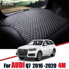 De cuero estera de maletero de coche del trazador de líneas de carga de alfombra para Audi Q7 4M 2015, 2016, 2017, 2018, 2019, 2020 maletero bota Mat cola buques de carga
