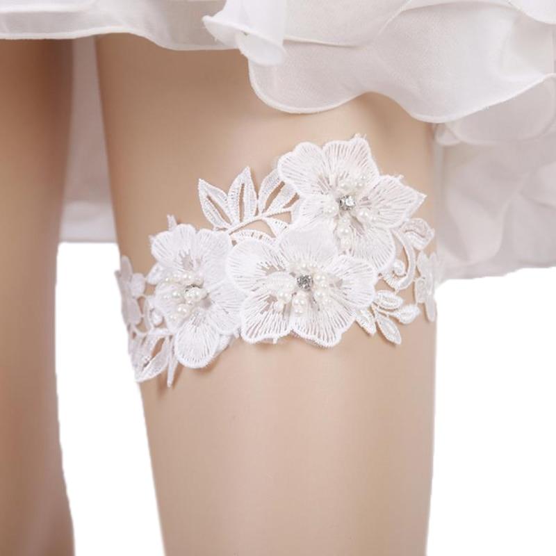 2pcs/set Wedding Garter Rhinestone Embroidery Flower Beading White Sexy Garters For Women Thigh Ring Bridal Leg Garter