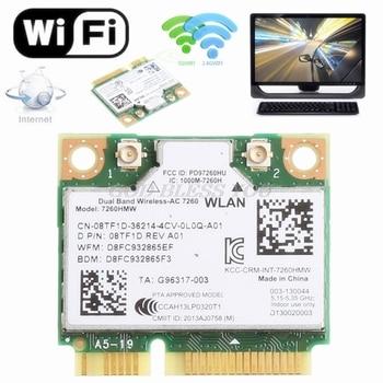 876M de doble banda 2,4 + 5G Bluetooth V4.0 Wifi Mini tarjeta pci-express inalámbrica para Intel 7260 AC para DELL 7260HMW CN-08TF1D