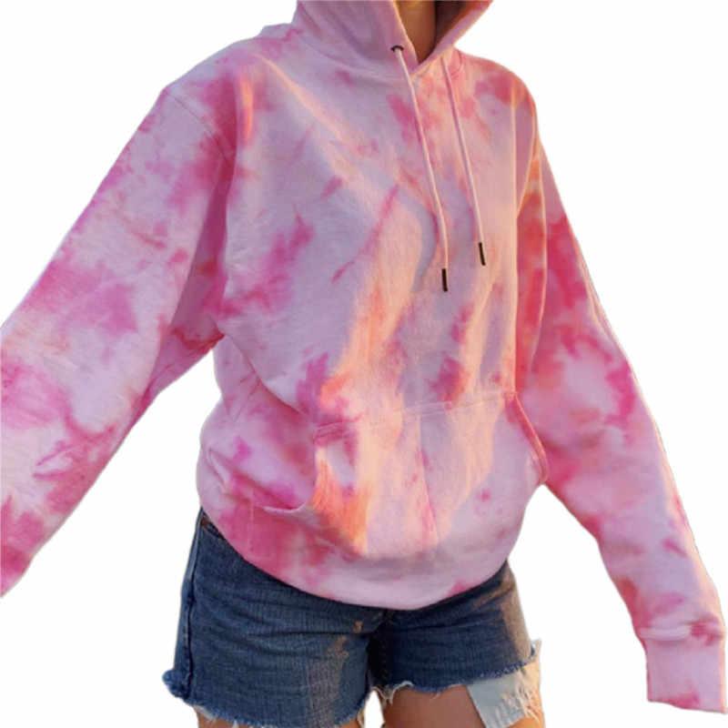 캐주얼 타이 염색 후드 티 여성용 스웨터 여성용 봄 가을 루스 롱 슬리브 풀오버 탑 Streetwear 여성 플러스 사이즈 탑스