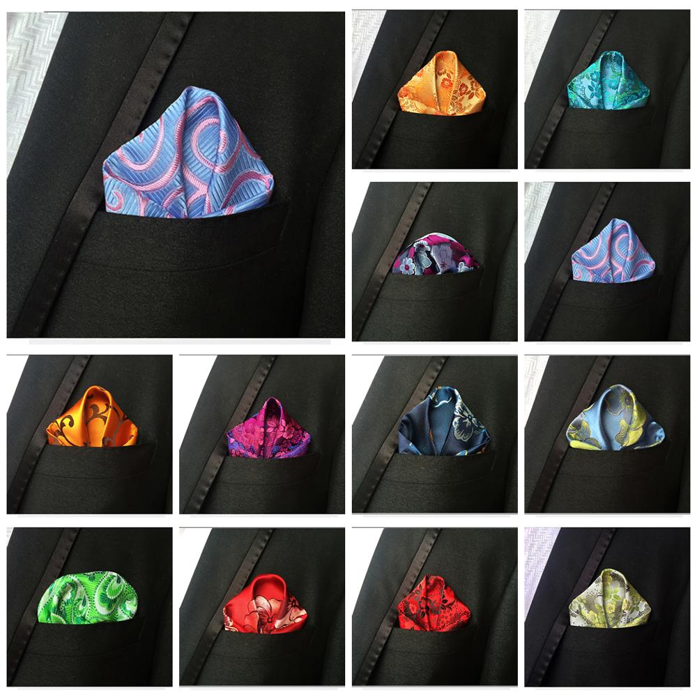 Luxury Men's Handkerchief Floral Printed Hankies Polyester Hanky Business Wedding Party Pocket Square Chest Towel 25*25CM