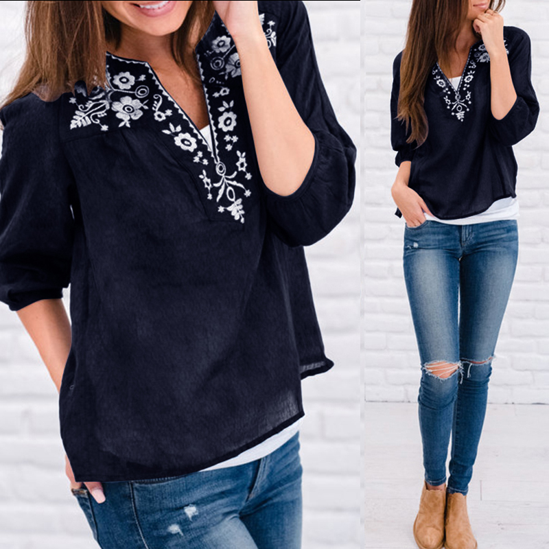 Top Fashion Celmia Women Vintage Printed Blouses 2019 Summer Female Clothes Sexy V-neck Half Sleeve Casual Loose Shirts Blusas