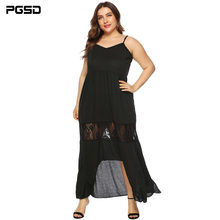 PGSD Summer Casual sexy Big size Women clothes Irregular lace stitching open fork Backless sling long waistband black dress 4XL